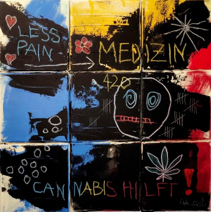 "A painting divided in nine squares saying ""Less pain"", ""medicine"", ""cannabis helps"" in German"