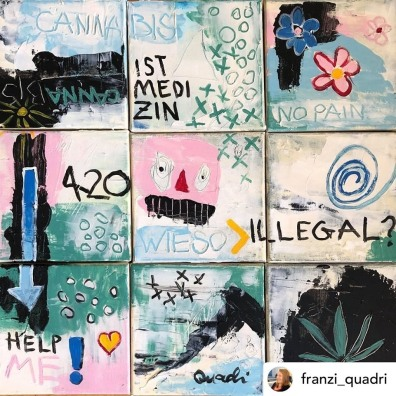 Painting diveded in nine squares with the question in German: Cannabis why illegal?